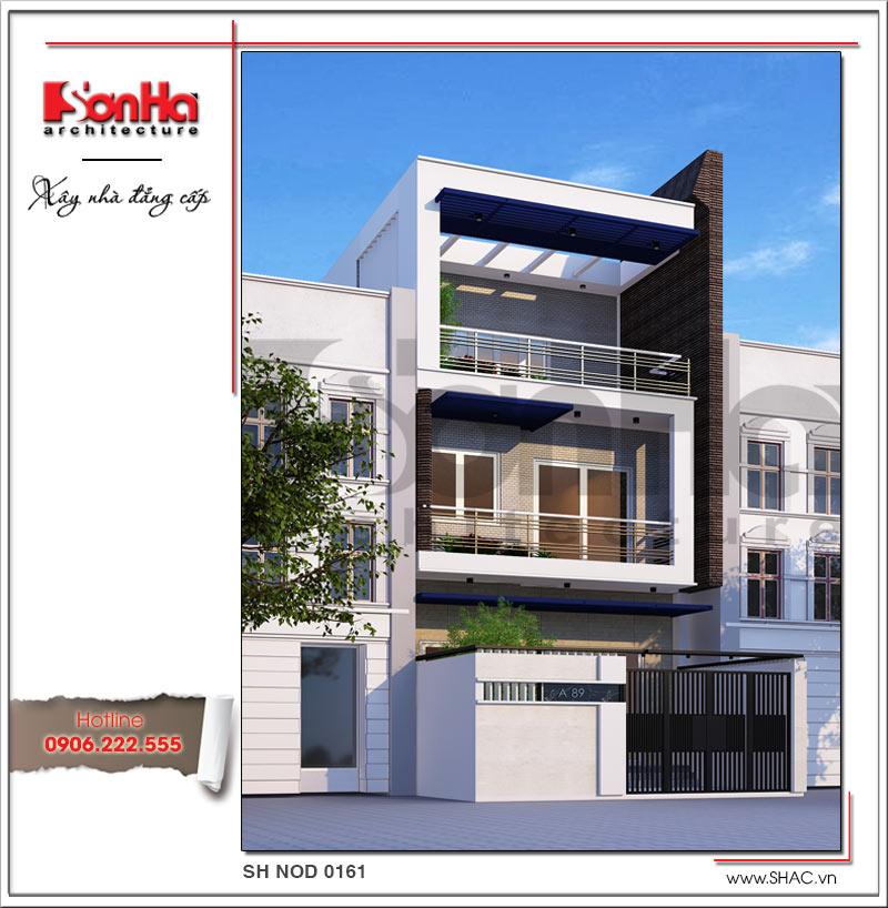 Phương án thiết kế kiến trúc nhà phố 3 tầng kiểu hiện đại tuy giản dị nhưng vô cùng tinh tế