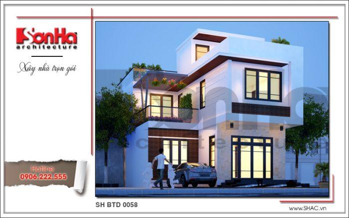 Phương án thiết kế mái bằng đẹp mắt cho biệt thự hiện đại 3 tầng sang trọng của SHAC