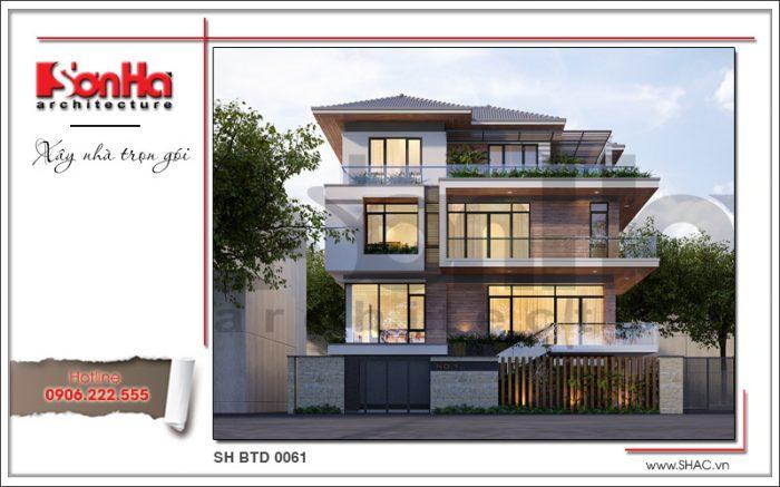 Phương án thiết kế mái dốc biệt thự đẹp với sự tinh tế trong kết hợp các chi tiết mềm mại