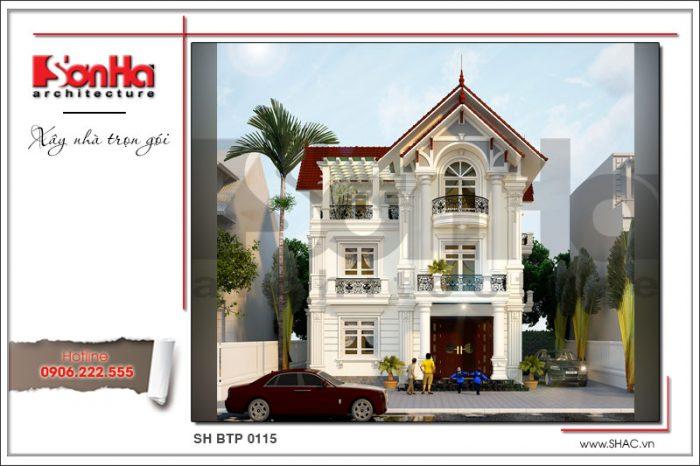 Phương án thiết kế mặt tiền đẹp của ngôi biệt thự phố phong cách tân cổ điển của SHAC