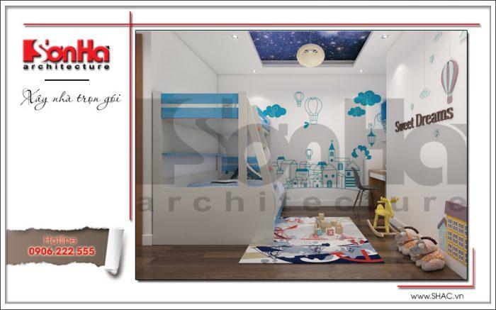 Sắc xanh đầy sinh sộng được khéo léo kết hợp với sắc trắng chủ đạo để trang trí phòng ngủ