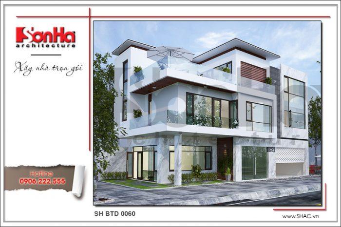 Thiết kế ấn tượng và tinh tế của mẫu mặt tiền biệt thự phố phong cách hiện đại tại Lạng Sơn