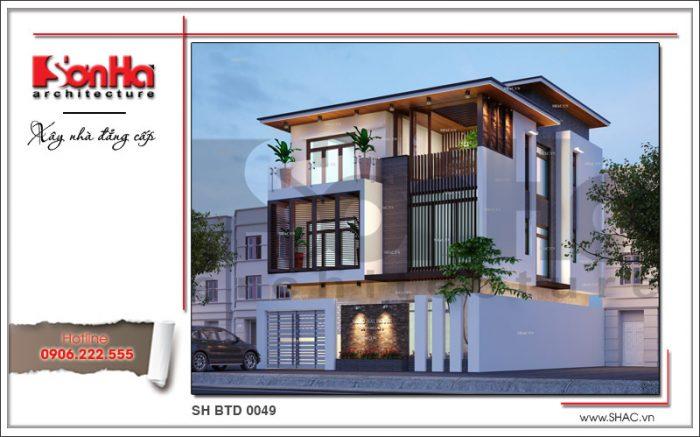 Thiết kế biệt thự hiện đại mái bằng nổi bật với màu sắc tinh tế có chiều sâu từ mọi góc