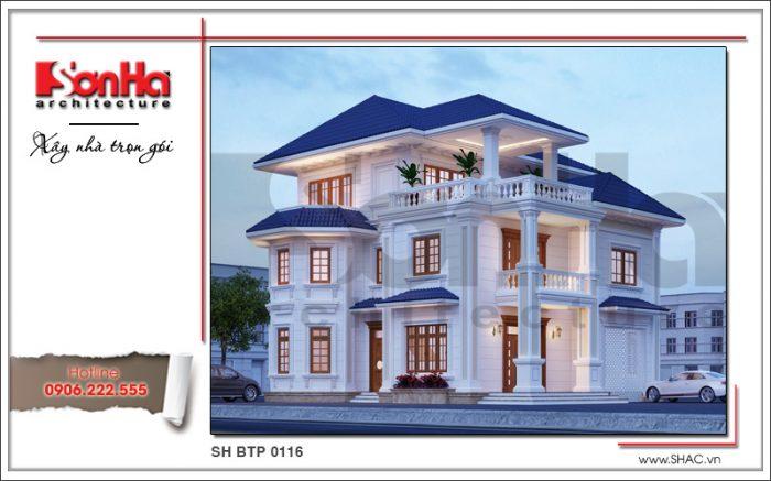 Thiết kế kiến trúc biệt thự 3 tầng tân cổ điển đẹp với mái thái màu sắc hợp thời tinh tế