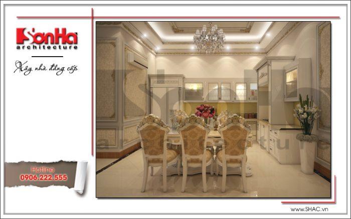 Thiết kế nội thất bếp ăn tiện nghi phong cách cổ điển của nhà phố 4 tầng được đánh giá cao