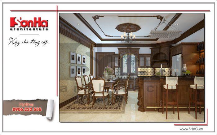 Thiết kế nội thất phòng bếp ăn nhà phố ấm cúng và đẹp mắt với đồ nội thất gỗ cao cấp