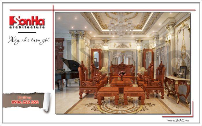 Toàn cảnh không gian nội thất phòng khách cổ điển đẹp và cao cấp với vật liệu gỗ tự nhiên