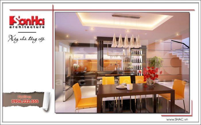 Từng đường nét của nội thất phòng bếp biệt thự nhà phố được tạo hình sắc nét ấn tượng