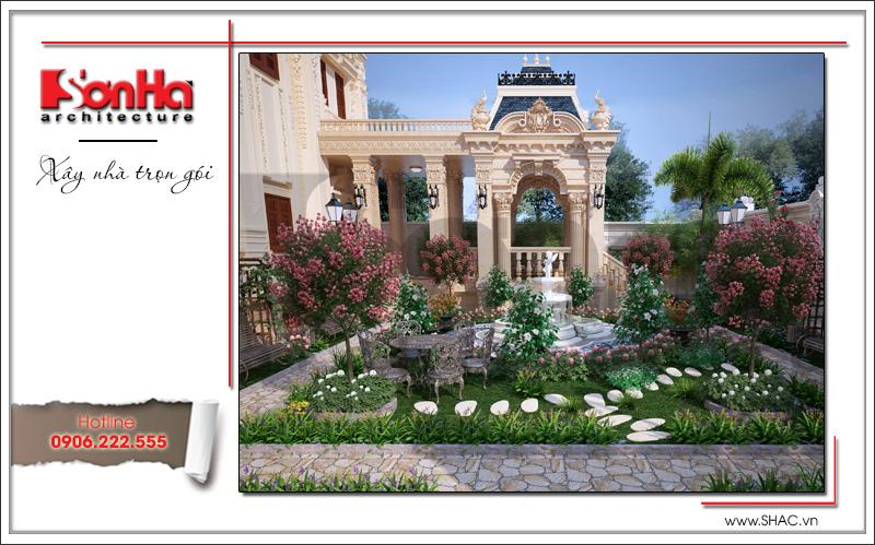 Phương án thiết kế sân vườn đẹp của biệt thự phong cách lâu đài cổ điển tại Hà Nội