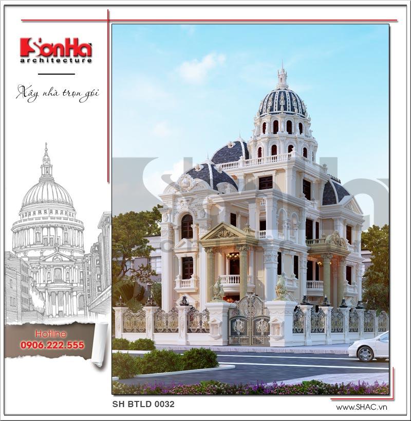 Mẫu thiết kế biệt thự đẹp phong cách lâu đài châu Âu sân vườn xanh mướt