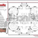 10 Bản vẽ mặt bằng tầng 1 biệt thự lâu đài cổ tại đà nẵng sh btld 0031