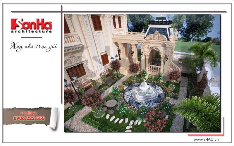 Mẫu tiểu cảnh sân vườn đẹp mắt của biệt thự phong cách lâu đài cổ điển 4 tầng
