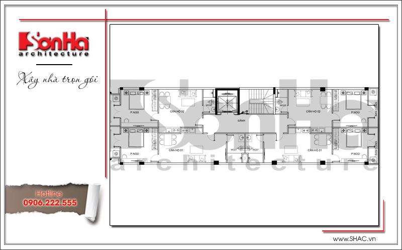 Thiết kế kiến trúc và nội thất căn hộ cho thuê tại Sài Gòn - SH VP 0033 17