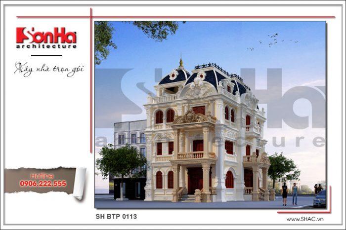 Biệt thự 4 tầng kiến trúc lấu đài cổ thiết kế đẹp mắt diện tích mặt bằng 140m2 tại Quảng Ninh