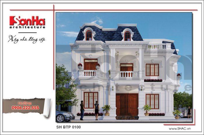Biệt thự cổ 2 tầng kiểu pháp được đánh giá cao nhờ sự kết hợp linh hoạt các chi tiết và màu sắc