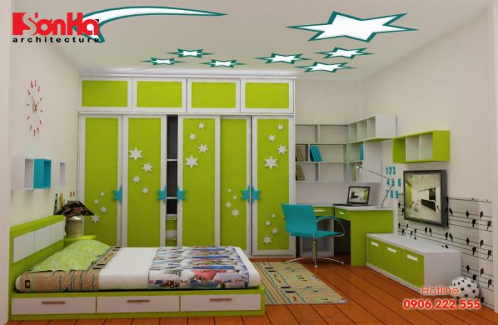 Các màu sơn phòng ngủ đẹp theo phong thủy cho nội thất hiện đại (1) Màu xanh lá cây_2