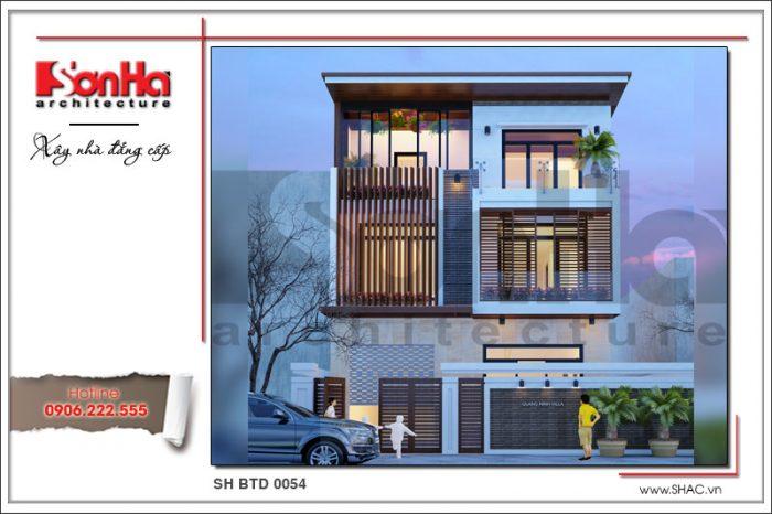 Điển hình của mẫu nhà kiến trúc biệt thự hiện đại 3 tầng đẹp thương hiệu SHAC giàu bản sắc