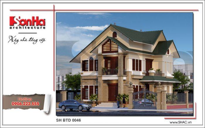 Điển hình của phương án thiết kế kiến trúc biệt thự 2 tầng đơn giản mà đẹp rất được yêu thích