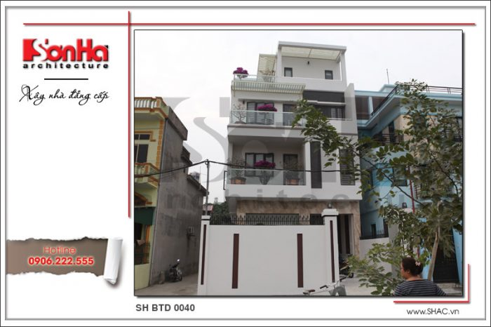 Hình ảnh thi công thực tế của ngôi biệt thự 4 tầng phong cách hiện đại tại Quảng Ninh