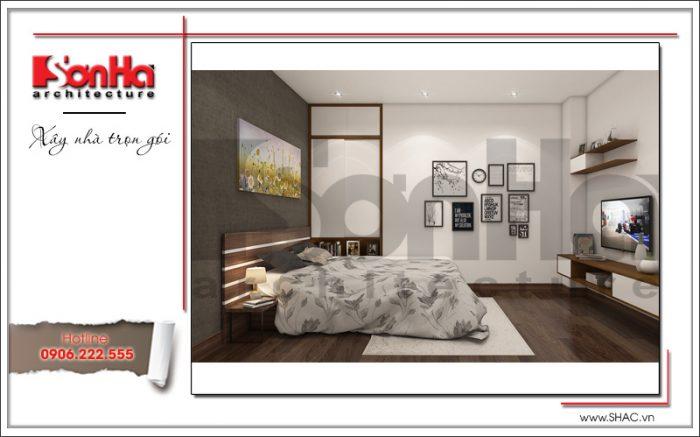 Không gian phòng ngủ sang trọng và tinh tế với sơn màu trầm ấm áp kết hợp màu trắng