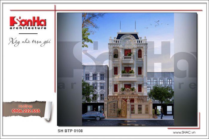 Kiến trúc mặt tiền biệt thự cổ pháp dễ dàng tạo thiện cảm nhờ sự linh hoạt trong kết hợp chi tiết