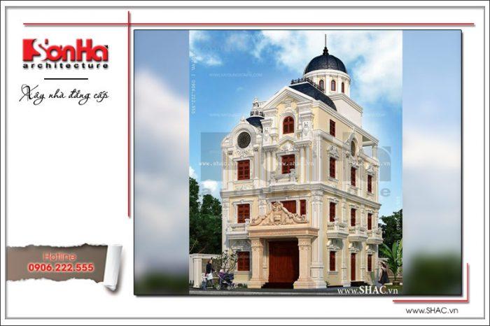 Kiến trúc mặt tiền đẹp của ngôi biệt thự 4 tầng phong cách lâu đài cổ điển thương hiệu SHAC