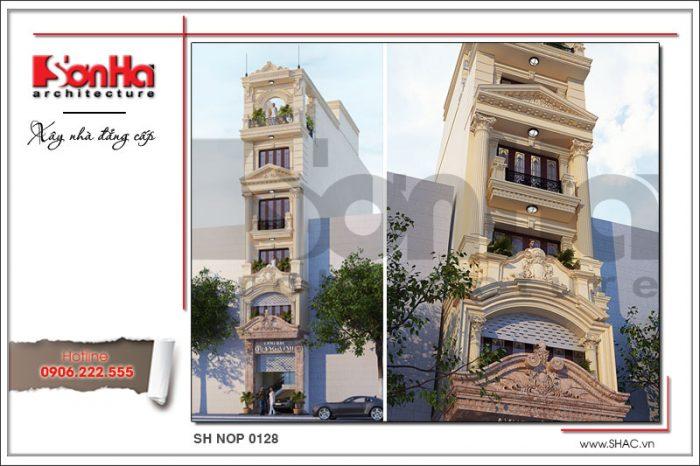 Kiến trúc mặt tiền đẹp của ngôi nhà ống 6 tầng sang trọng, mãn nhãn và có duyên tại Hà Nội