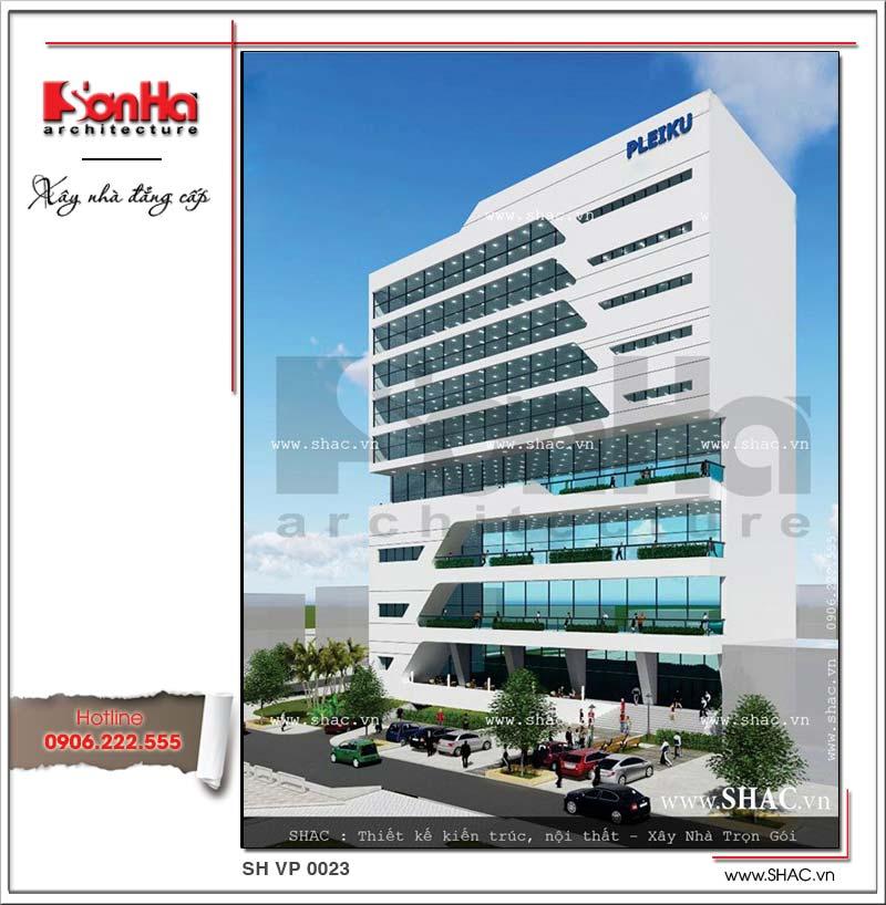 Kiến trúc mặt tiền đẹp của tòa nhà văn phòng phong cách hiện đại làm nên bản sắc SHAC