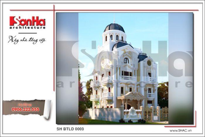 Mặt tiền giản dị mà đẹp mắt của ngôi biệt thự 4 tầng kiến trúc lâu đài cổ điển tại Quảng Ninh