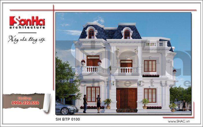 Mẫu biệt thự 2 tầng đơn giản kiến trúc cổ điển được đánh giá cao từ bố cục đến thể hiện chi tiết