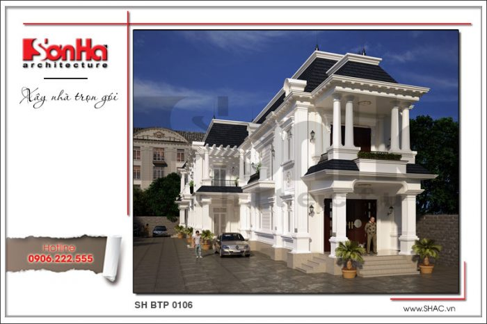 Mẫu biệt thự cổ kiểu pháp 2 tầng kết hợp kinh doanh tại Cà Mau nổi bật với gam màu tinh tế