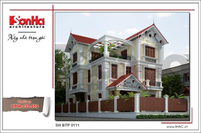 Mẫu thiết kế kiến trúc biệt thự mái dốc 3 tầng phong cách cổ điển được yêu thích lựa chọn