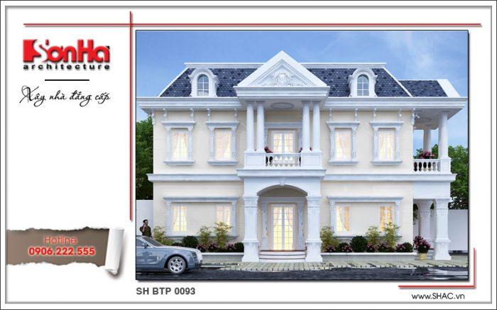 Phương án thiết kế biệt thự 2 tầng phong cách pháp nổi bật với chi tiết bắt mắt và chặt chẽ