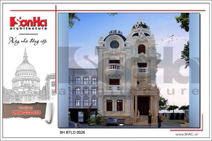 Phương án thiết kế biệt thự cổ 5 tầng toát lên nét sang trọng và có hồn được CĐT yêu thích