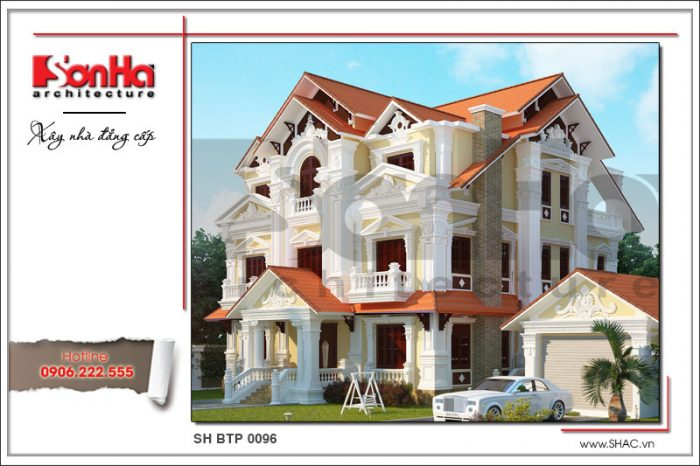 Phương án thiết kế biệt thự cổ pháp 3 tầng với bố cục mặt tiền chặt chẽ, mạch lạc và tinh tế