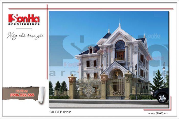 Phương án thiết kế biệt thự mái dốc 3 tầng đẹp sang trọng và tinh tế đến từng tiểu tiết