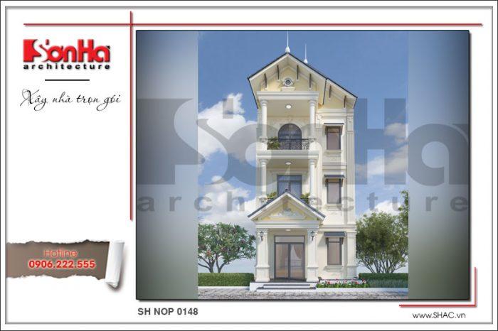 Phương án thiết kế kiến trúc nhà ống cổ điển pháp tại Quảng Ninh mang ý tưởng độc đáo