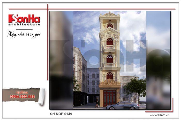 Phương án thiết kế kiến trúc nhà ống phong cách cổ điển pháp tại Hà Giang được yêu thích