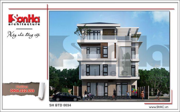 Thêm góc view cho thấy sự tinh tế trong thiết kế mẫu nhà mới 4 tầng hiện đại của SHAC