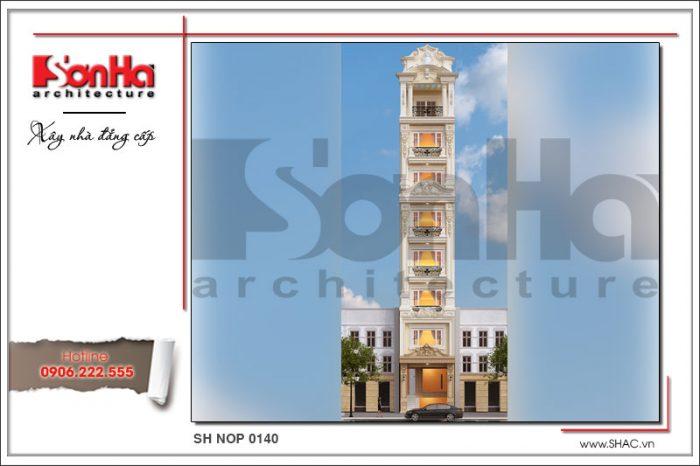 Thiết kế có duyên của mẫu mặt tiền nhà ống phong cách cổ pháp tại Hà Nội của SHAC