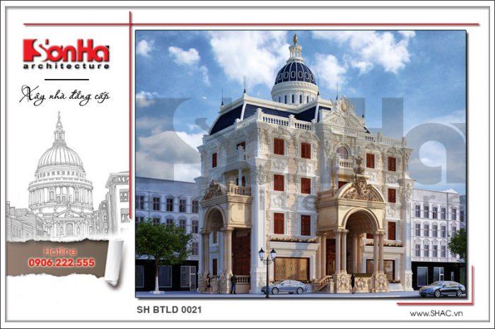 Thiết kế mặt tiền đẹp của biệt thự 4 tầng phong cách lâu đài cổ điển sang trọng mọi góc