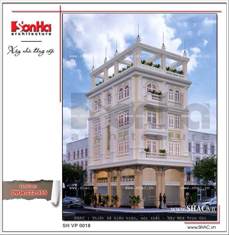 Tòa nhà văn phòng kiến trúc pháp cổ điển 5 tầng được thiết kế đẹp và sang từng tiểu tiết