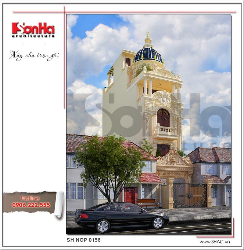 Kiến trúc mặt tiền 5m cổ điển Pháp đẹp của ngôi nhà ống khang trang tại Hải Phòng