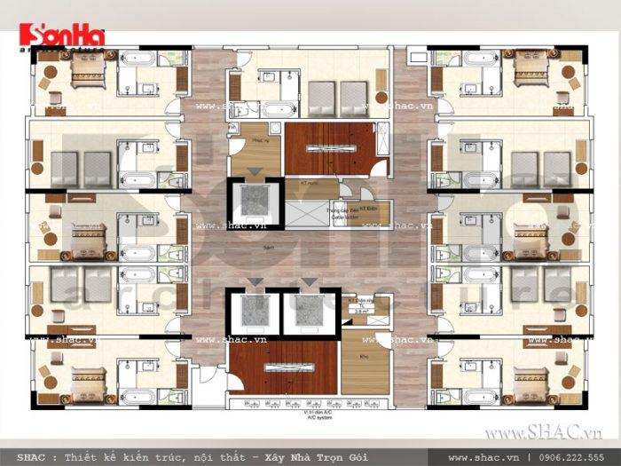 Bản vẽ mặt bằng công năng tầng 3 đến tầng 6 khách sạn hiện đại tại Hải Phòng