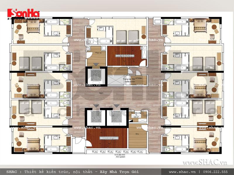 Mẫu khách sạn tiêu chuẩn 3 sao sang trọng hiện đại bậc nhất Hải Phòng – SH KS 0049 10