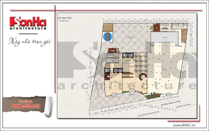 2 Mặt bằng công năng tầng trệt dự án khách sạn Q MaMa tại sài gòn