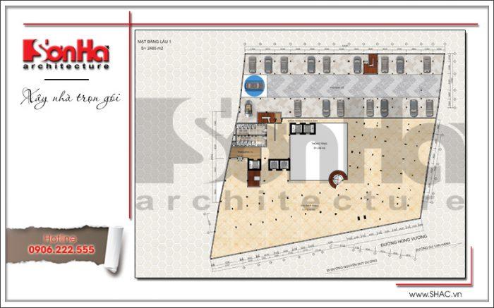3 Mặt bằng công năng tầng 1 dự án khách sạn Q MaMa tại sài gòn