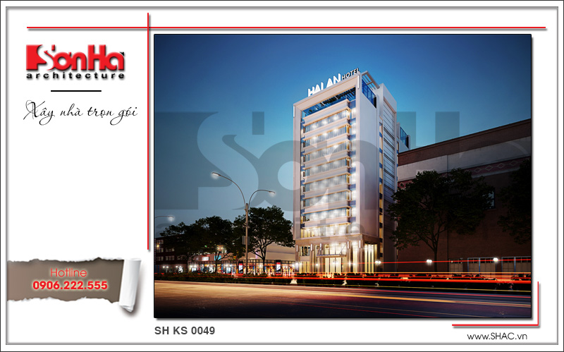 Mẫu khách sạn tiêu chuẩn 3 sao sang trọng hiện đại bậc nhất Hải Phòng – SH KS 0049 5