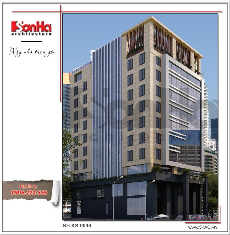 Kiến trúc mặt tiền đẹp phong cách hiện đại của khách sạn tiêu chuẩn 3 sao tại Hải Phòng