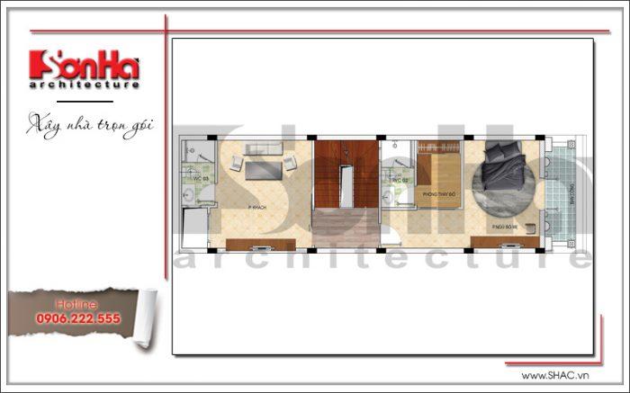 Bản vẽ mặt bằng công năng tầng 2 của nhà ống Pháp mặt tiền 5m tại Hải Phòng